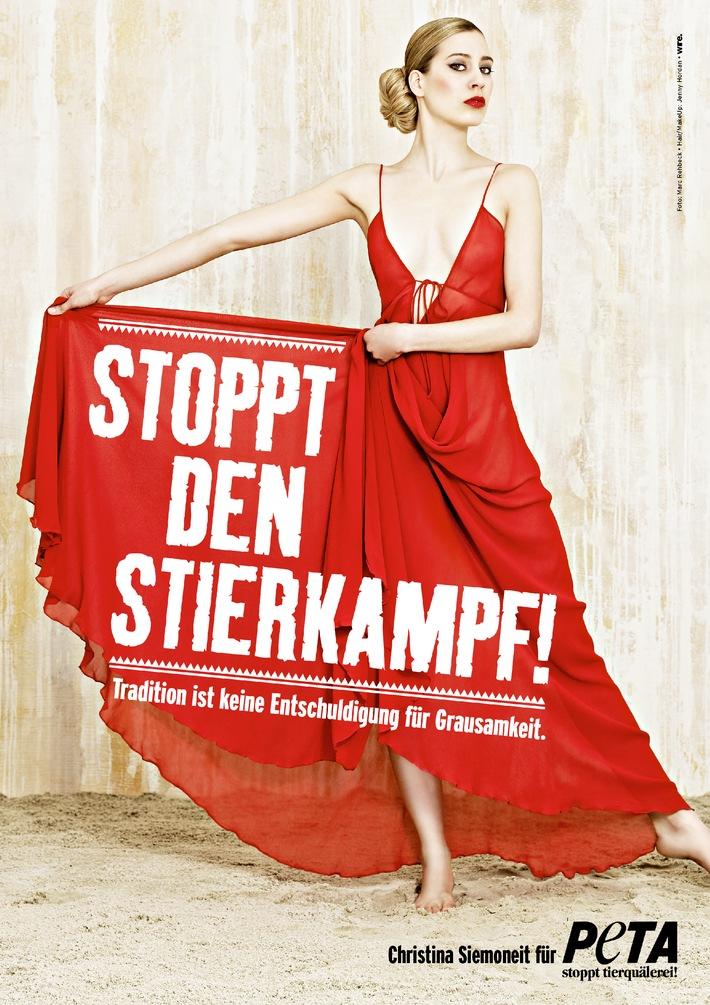 """PM: Pamplona 2012: Tierquälerei endlich stoppen! / """"Alles was zählt""""-Hauptdarstellerin Christina Siemoneit veröffentlicht mit PETA sexy Motiv gegen Stierhatz"""
