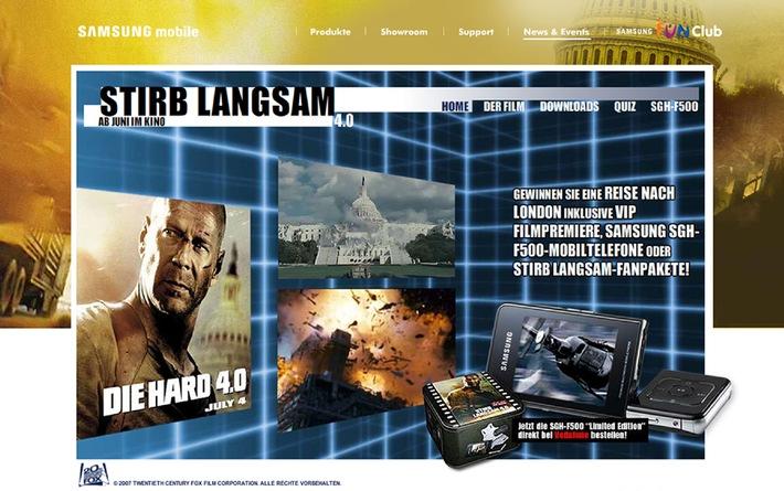 """reality bytes realisiert multimediale Kampagne für Samsung - Themenseite begleitet Start des 20th-Century-Fox-Films """"Die Hard 4.0"""""""