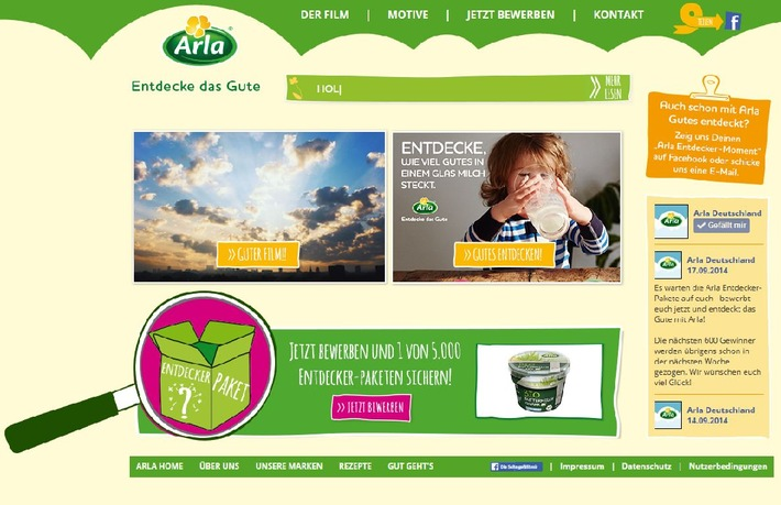 """""""Entdecke das Gute"""": Arla positioniert sich mit neuer Endverbraucherkampagne und verlost 5.000 Entdeckerpakete"""