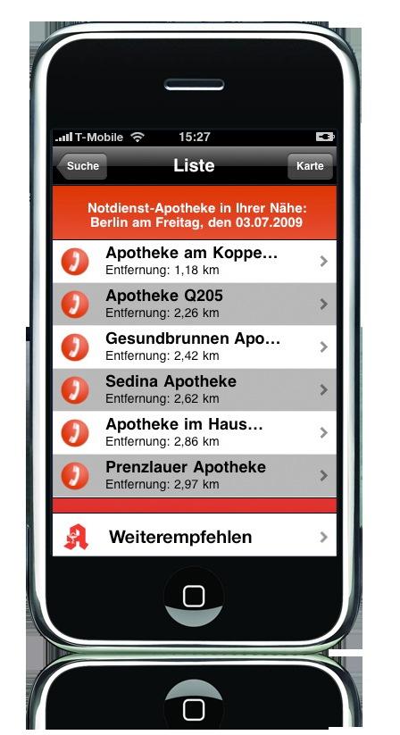 """Sinnvolle """"App"""": Apotheken-Notdienst via iPhone Nr. 1 der Apple-Dienstprogramme / Viel Lob für Service der 22 8 33-Familie"""