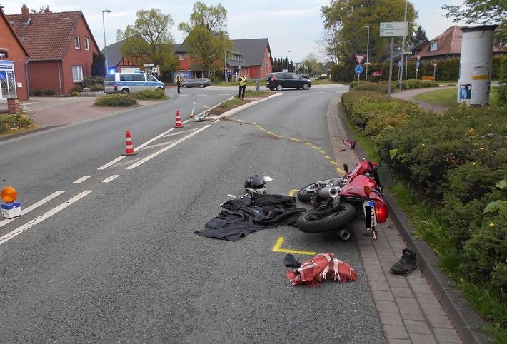 POL-NI: Motorradfahrer verunfallt im Holtorfer Kreisel