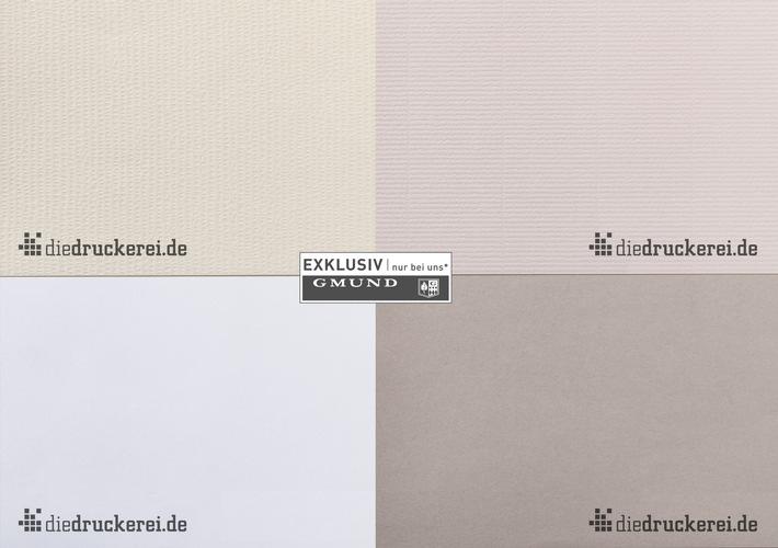 """Kooperation: Neue Gmund-Papiere für diedruckerei.de-Kunden / Visitenkarten und Briefpapiere auf """"Onlineprinters Art Classics""""-Feinstpapieren"""