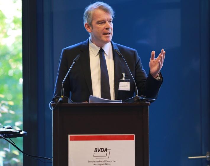 """""""Anzeigenblätter sind eine verlässliche Größe im zersplitterten Werbemarkt"""" / BVDA-Präsident Alexander Lenders eröffnete Herbsttagung der Anzeigenblattbranche"""