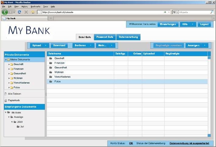 DSwiss erweitert E-Banking mit dem digitalen Schliessfach
