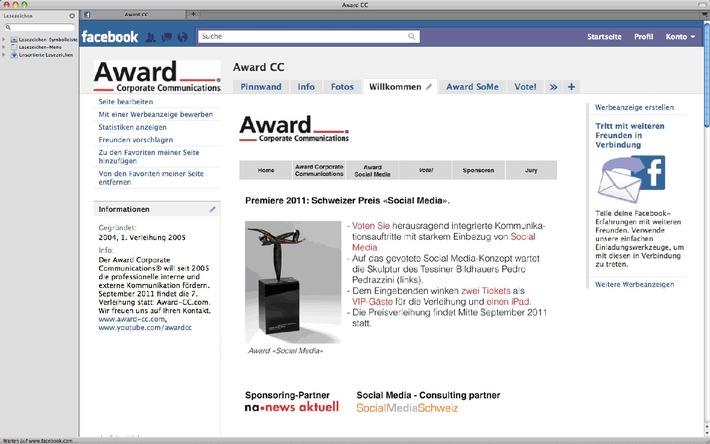 Premère en Suisse: l'Award «Social Media»