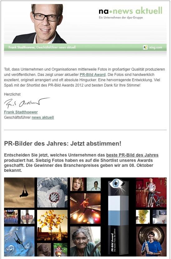 Newsletter: PR-Bilder des Jahres, internationale Journalistenkontakte, SmartSites (BILD)