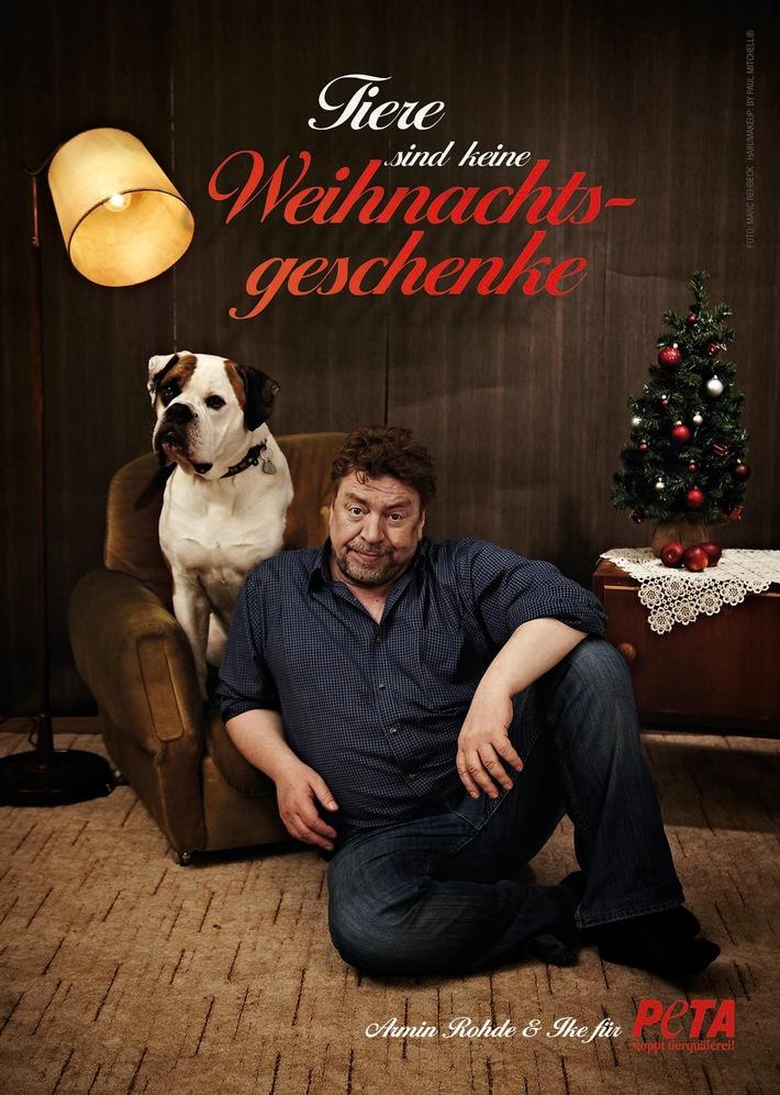 """""""Tiere sind keine Weihnachtsgeschenke"""": Armin Rohde und sein Hund Ike für PETA / Schauspieler hat Bulldogge aus dem Tierheim adoptiert"""