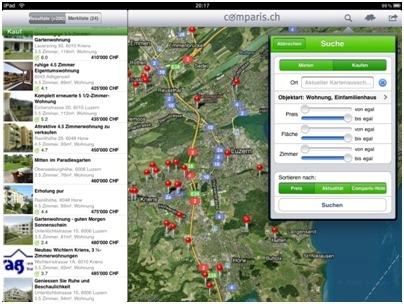 comparis.ch lanciert Immobilien-Applikation auf dem iPad - Der iPad hilft auch bei der Wohnungssuche