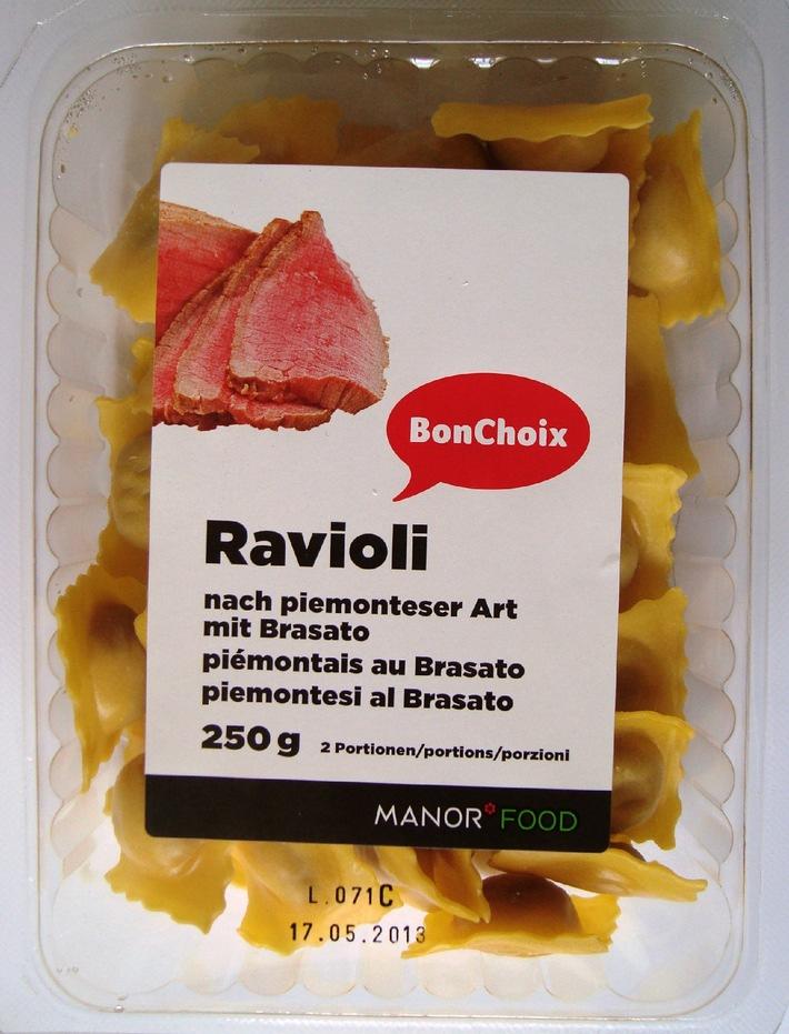 Manor nimmt «Ravioli nach piemonteser Art mit Brasato» der Marke BonChoix aus dem Verkauf