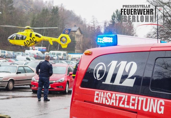 FW-MK: Arbeitsunfall - Einsatz für den Rettungshubschrauber