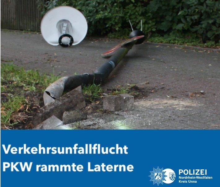POL-UN: Kamen - Verkehrsunfallflucht - unbekannter Fahrzeugführer rammte Laterne