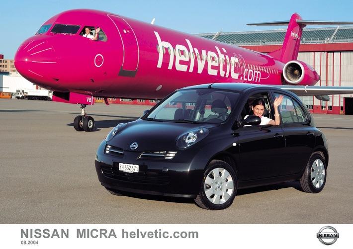 """Nissan décolle avec la nouvelle version spéciale """"MICRA helvetic.com"""" - Un constructeur automobile établit un partenariat avec une compagnie aérienne suisse à faible coût"""