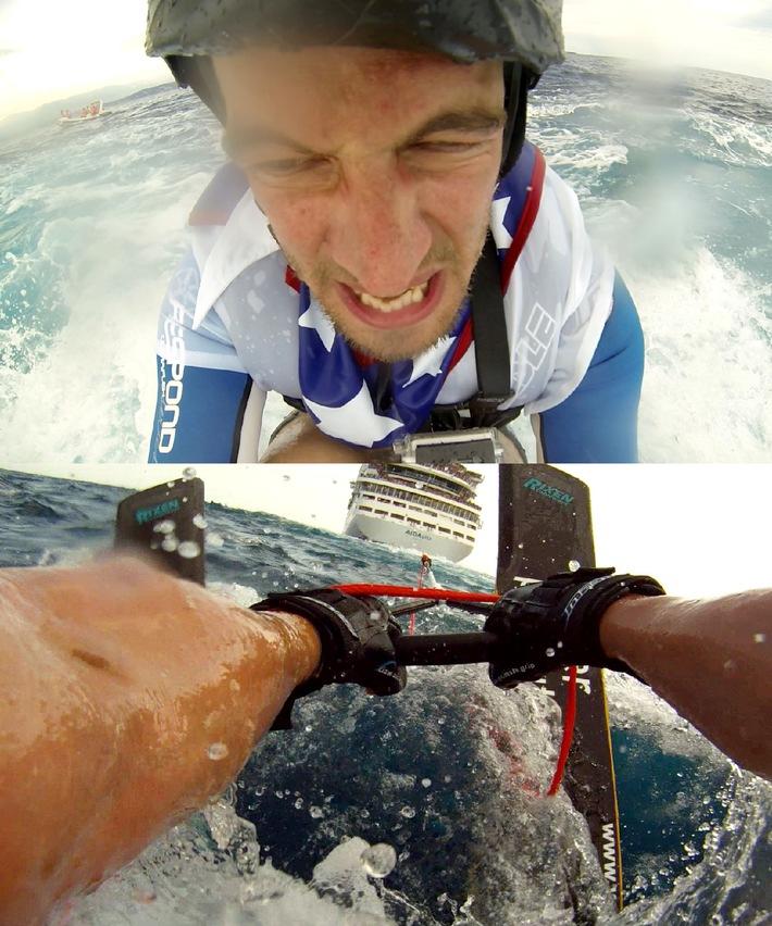 """Extremsport bei """"Joko gegen Klaas - Das Duell um die Welt"""": Wasserski hinter einem Kreuzfahrtschiff fahren und mit zwei Bullen surfen!"""