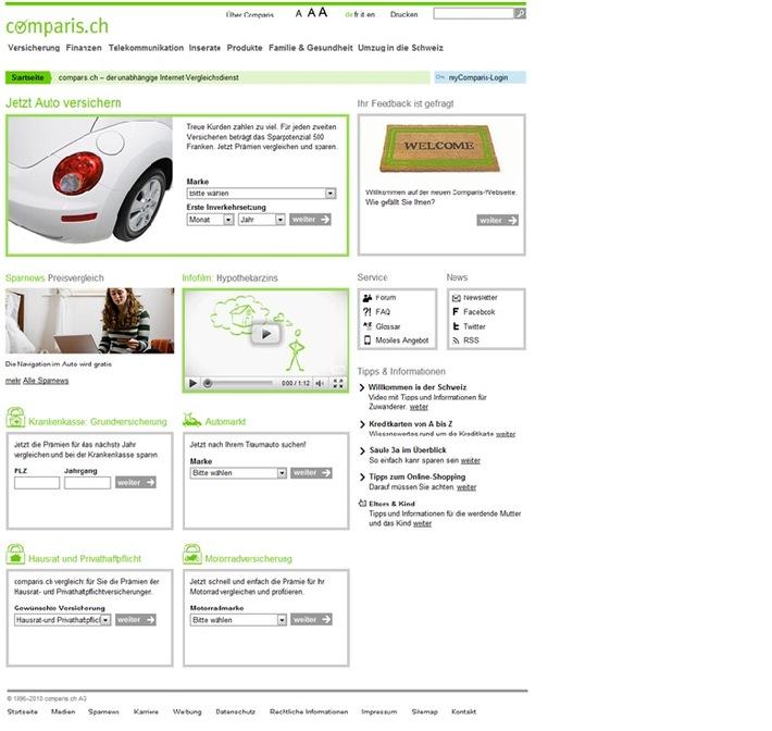 comparis.ch zum Redesign des Webauftritts - comparis.ch in neuen Kleidern