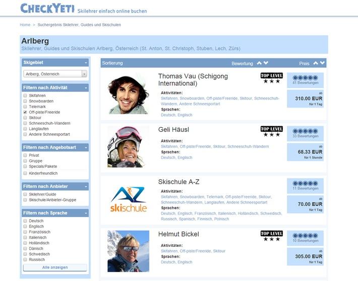 CheckYeti.com: Erster Online-Marktplatz für Wintersport nimmt Fahrt auf