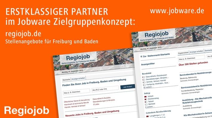 Regiojob vertraut im Stellenmarkt auf Jobware / Mehr Reichweite in Freiburg und Südbaden