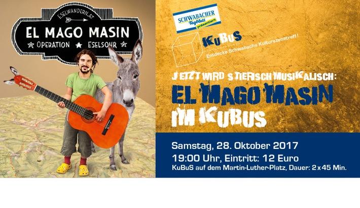 Herbstzeit ist KuBuS-Zeit: El Mago Masin tritt am 28. Oktober im Schwabacher Kulturbus auf