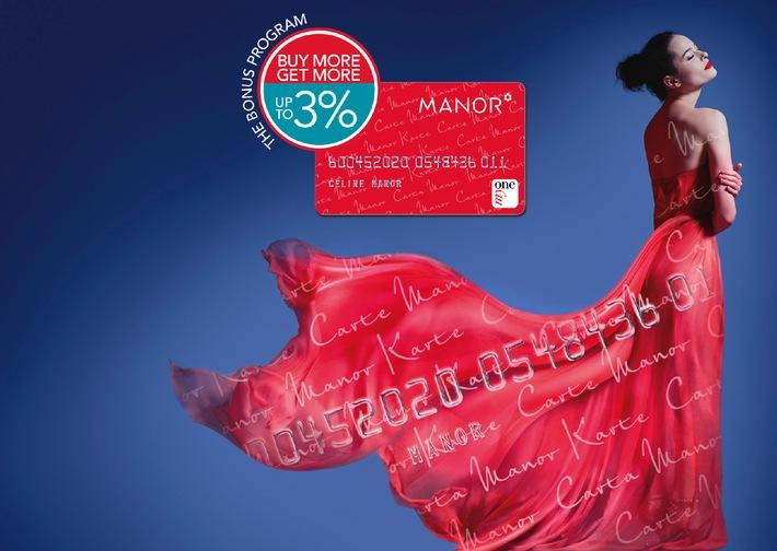 Jetzt bis zu 3% Bonus - Manor lanciert Bonus-Programm für treue Kunden