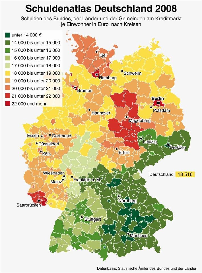 Schuldenschere der Regionen klafft auseinander (Mit Grafik)