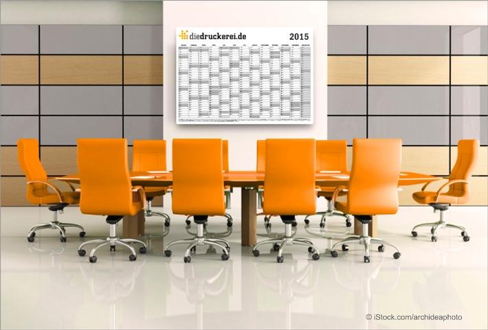 Jahresplanung mit Kalendervorlagen für 2015 von diedruckerei.de / Wandplaner und Kalender einfach selbst gestalten
