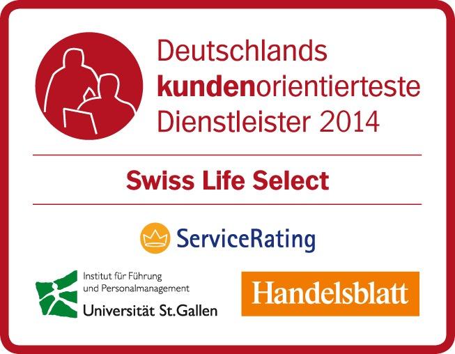 """""""Deutschlands kundenorientierteste Dienstleister"""":  Swiss Life Select zum vierten Mal in Folge ausgezeichnet"""
