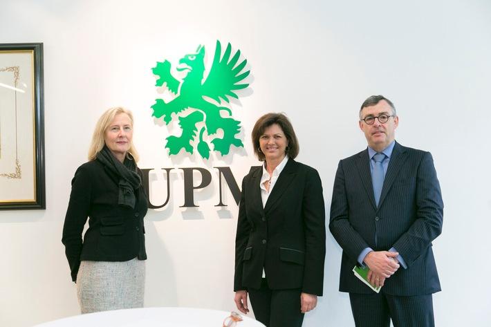 Papierhersteller UPM unterstützt Energiewende in Bayern / Bayerns Wirtschafsministerin Aigner besucht Teilnehmer des dena-Pilotprojekts Demand Side Management Bayern