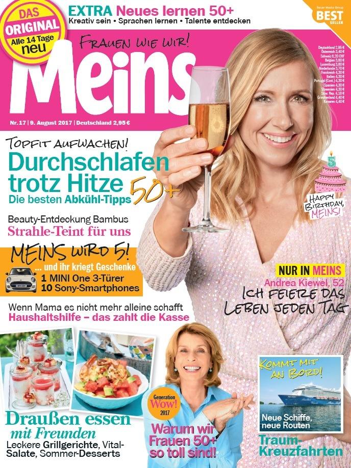 """Andrea Kiewel in """"Meins"""": """"Das Leben muss gefeiert werden!"""" / 50plus-Frauenmagazin """"Meins"""" feiert 5. Geburtstag - und die Stars feiern mit"""