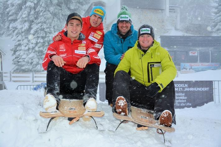 Winterneuheit im Skigebiet Muttereralm bei Innsbruck: Rasanter Rodelspaß mit dem Pistenbock®