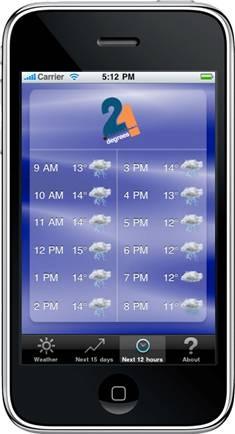 Nouveauté mondiale: la météo vous suit partout, l'Application iPhone vous localise et vous envoit la météo où vous êtes... à 15 jours