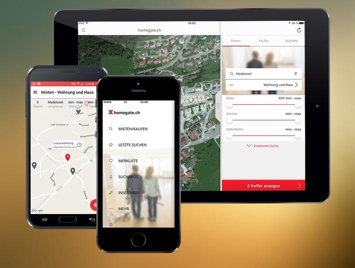 homegate.ch mit neuen Apps - Benutzerfreundlicher, schneller und mit erweiterten Funktionen