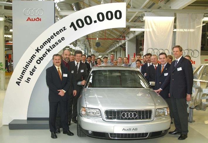 Aluminium-Leichtbau in der Oberklasse: 100.000ster Audi A8 produziert