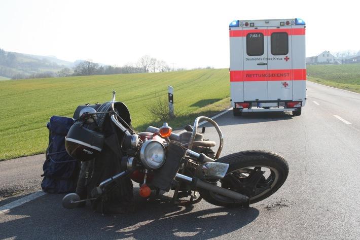 POL-PDKL: Unfall: Motorrad teilweise überrollt