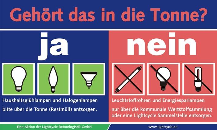 Verboten - aber die wenigsten wissen es: Energiesparlampen gehören nicht in die graue Tonne
