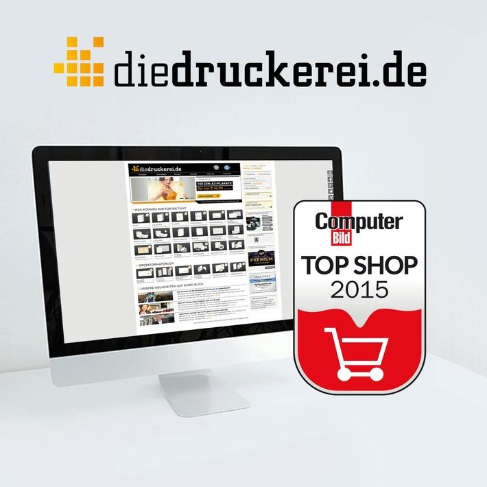 """diedruckerei.de als """"COMPUTER BILD Top Shop"""" ausgezeichnet /  Die Onlinedruckerei setzt sich gegen 91 Prozent aller getesteten Shops durch"""