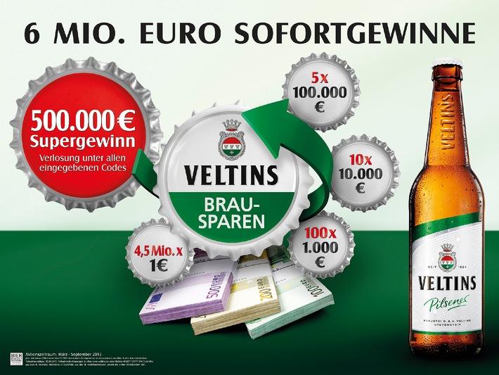 6 Mio. Euro in bar bei beliebter Kronkorken-Aktion: Veltins Brausparen 2015 mit Super-Gewinn von 500.000 Euro