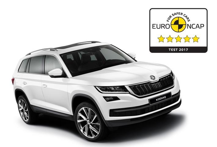 SKODA KODIAQ erzielt 5-Sterne-Bestwertung bei Euro NCAP-Test