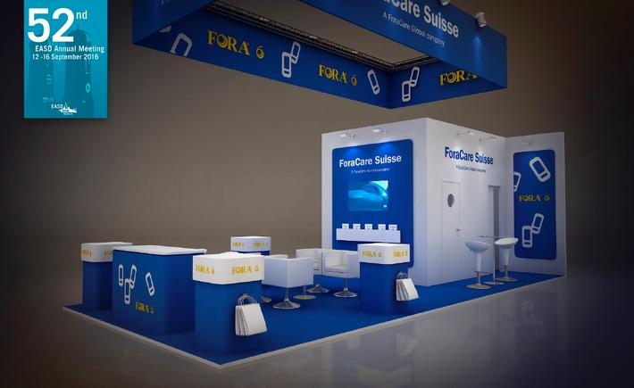 ForaCare führt die erste Blutzucker-Produktlinie mit sechs wichtigen Parametern ein / EASD in München: Stand von ForaCare: Halle B.01, M03