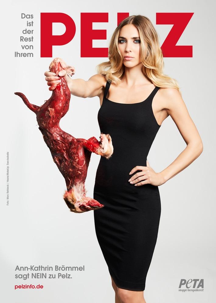"""Ann-Kathrin Brömmel in neuer PETA-Kampagne gegen Tierleid für Mode: """"Das ist der Rest von Ihrem Pelz!"""""""