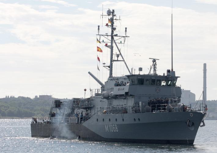 """Zurück im Heimathafen - Das Minenjagdboot """"Datteln"""" kehrt aus NATO-Einsatz zurück"""