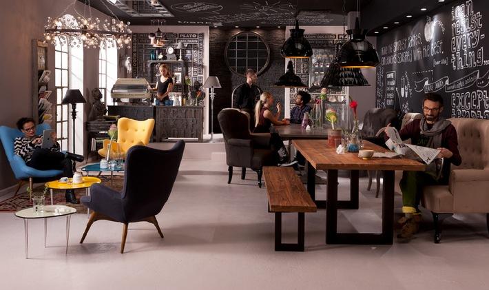 imm k ln wohntrend 2013 cosy living im industrial loft bild pressemitteilung kare design gmbh. Black Bedroom Furniture Sets. Home Design Ideas