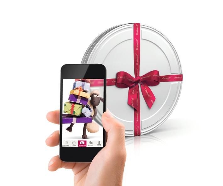 """Weihnachts-Tipp: Augmented Reality erweckt CinemaxX Gutschein-Geschenkbox zum Leben / Geschenkbox per PosterCam abscannen und Videobotschaft von """"Shaun das Schaf"""" entdecken"""