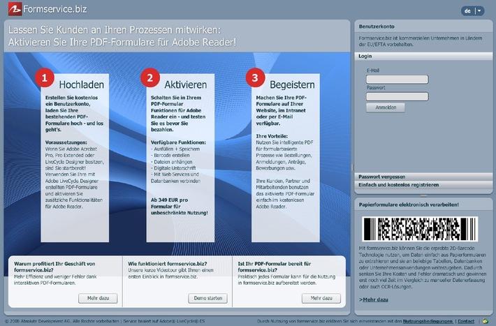 Absolute Development AG: Formservice.biz aktiviert ihre PDF-Formulare für Adobe Reader
