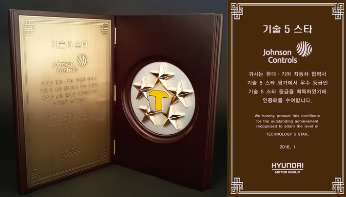 """Johnson Controls Korea Technology Center achieves """"Technology 5 Star"""" certification from Hyundai-Kia / Supplier recognized for excellence in engineering research and development"""