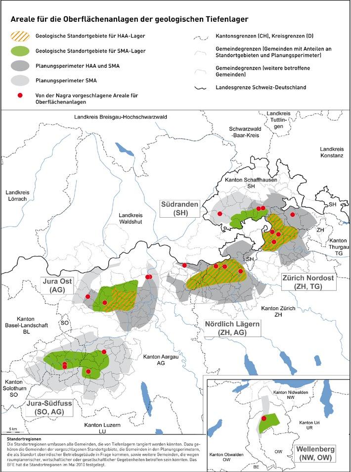 Entsorgung radioaktiver Abfälle - Standortvorschläge für die Oberflächenanlagen geologischer Tiefenlager bekanntgegeben