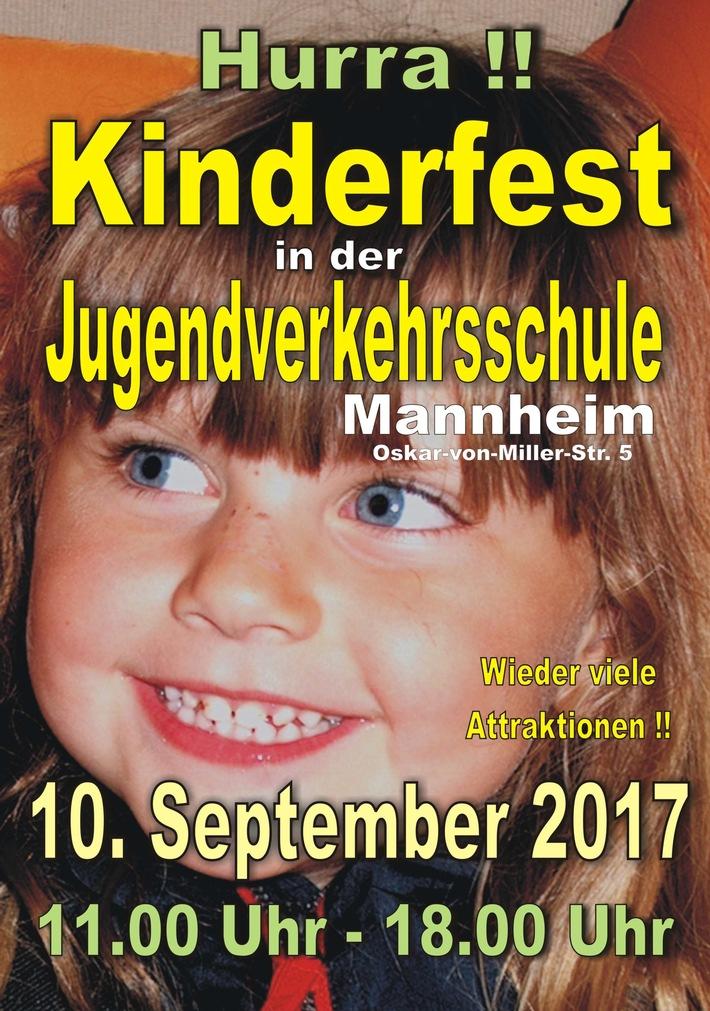 Mannheim: Großes Kinderfest in der Jugendverkehrsschule Mannheim - Polizei-Kinderfahrräder zu gewinnen!