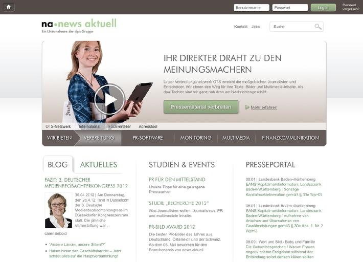 dpa-Tochter news aktuell mit neuer Homepage (BILD)