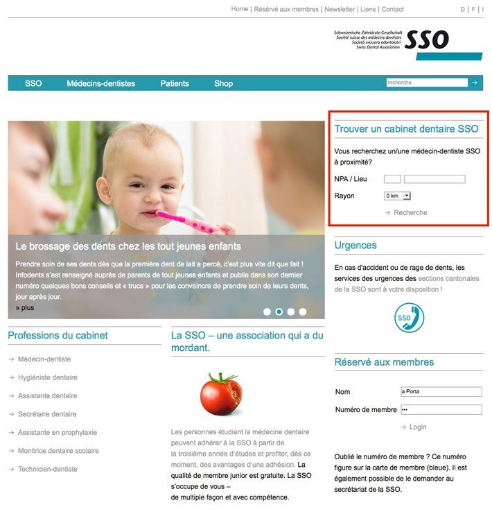 Trois clics pour trouver un médecin-dentiste SSO