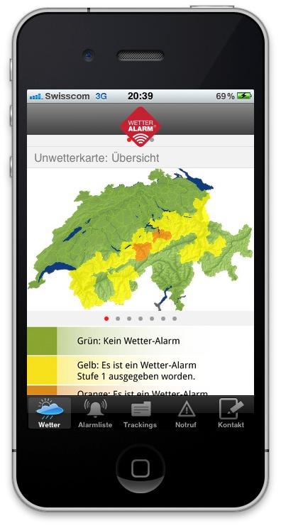 Der kostenlose Unwetterwarndienst Wetter-Alarm jetzt auch als iPhone Applikation