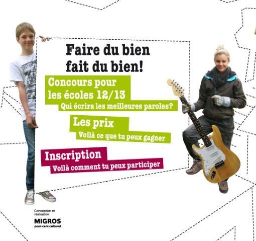 Journée du bénévolat - 5 décembre 2012 : Le concours x-puissance-coeur pour les écoles 2012/2013 du Pour-cent culturel Migros cherche des chansons sur le thème du bénévolat / «Faire du bien fait du bien!»