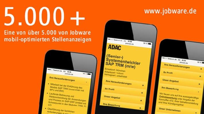 Mehr als 5.000 Stellenanzeigen ge.MOPS.t / Mobil-optimierte Stellenanzeigen (MOPS) lassen sich mobil perfekt lesen